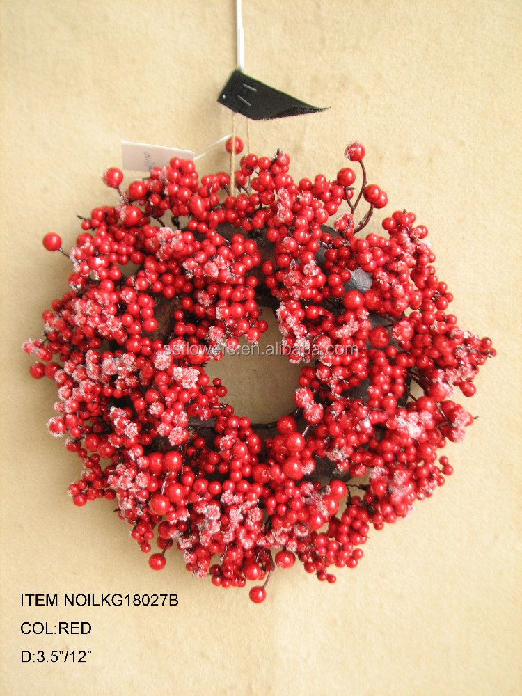 "High Quality Popular Artificial red berry wreath candle rings for Christmas Decoration 12"" Artificial Wreath"