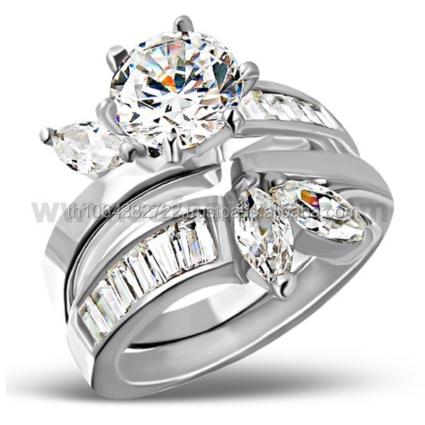 Prong Setting 925 Sterling Silver Pair of Engagement Wedding Unisex Ring Wholesale Price from Thailand