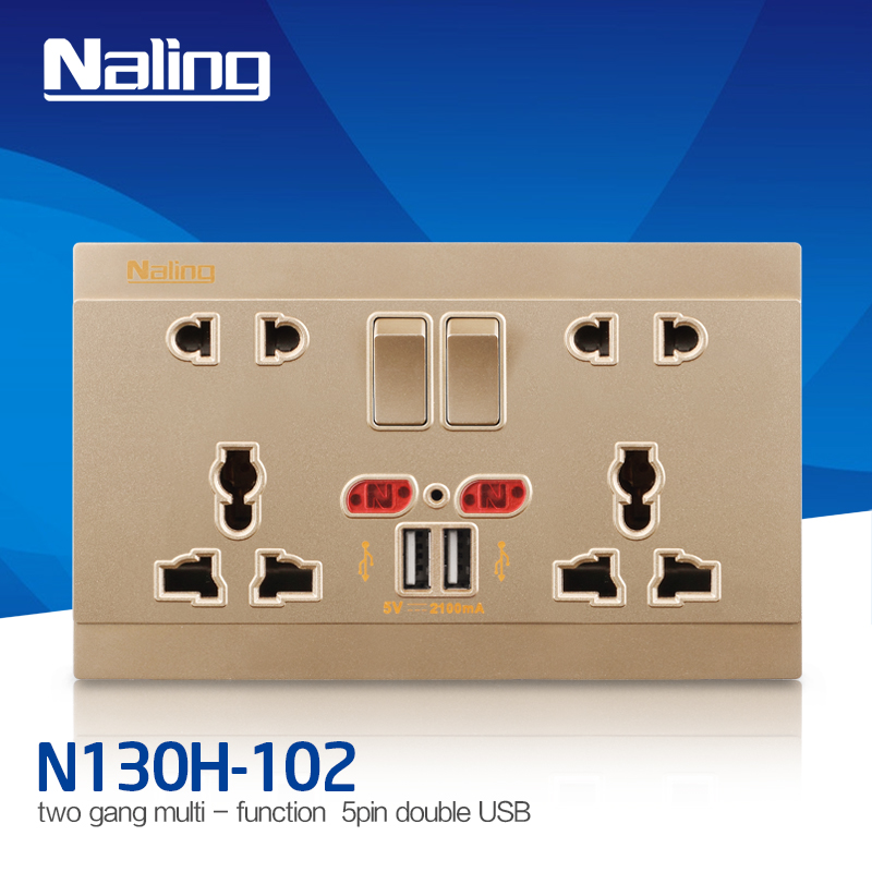 5V/2100ma Double Gang UK wall mounted USB power outlet socket