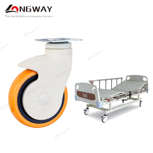 Longway 4 / 5 inch stem swivel durable nylon yoke PU orange medical hospital bed casters