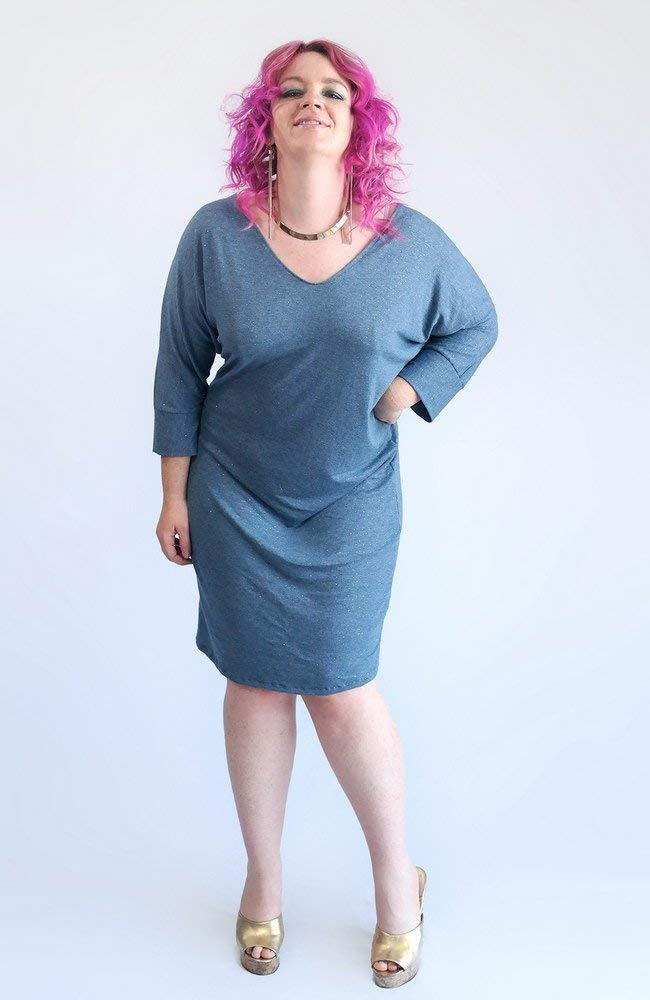 It's a Sleepover Night Out, Girlfriend! Blue Grey Sparkle V-Neck Kimono Dress, Silver Dot Grey Dress, Night Out Dolman Dress. Size ML-XL