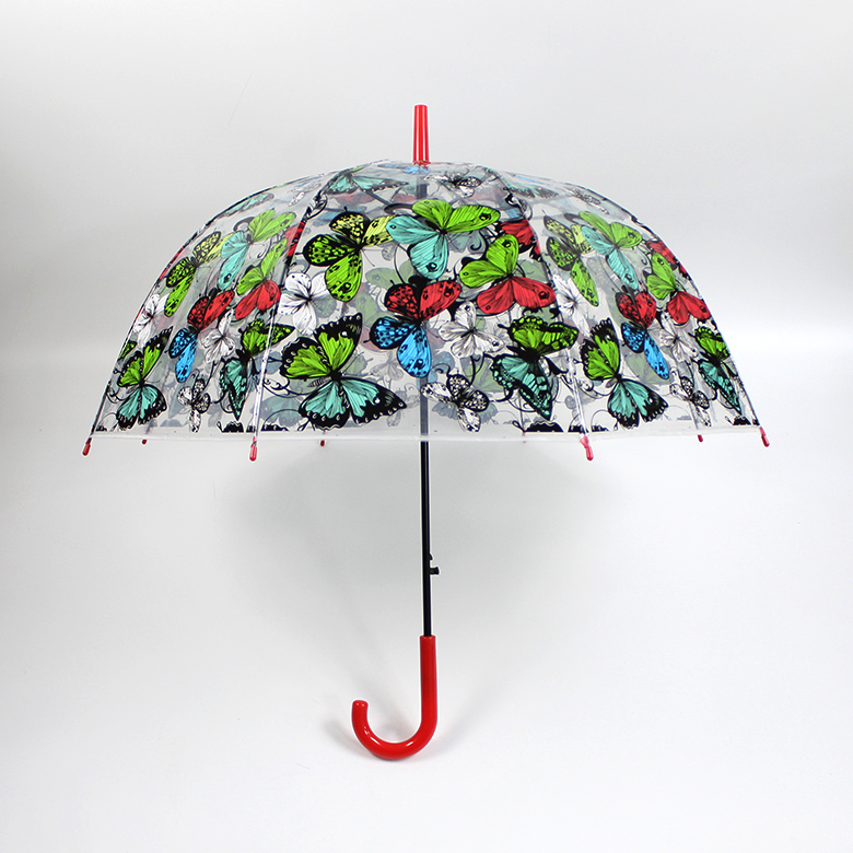 Factory directly provide POE transparent customised colorful butterflies windproof sunshade umbrella