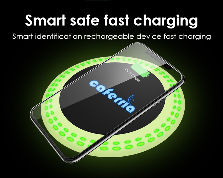 Custom luminous LOGO 2a 10w universal portable wireless mobile phone charger fast wireless charger