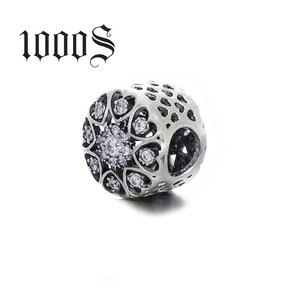 Wholesale European Fashion Beads 925 Sterling Silver Clear Zircon European Charms