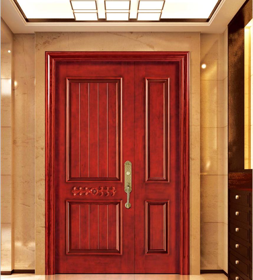 Simple Solid Teak Wood Front Main Entry Door Design Unequal Double