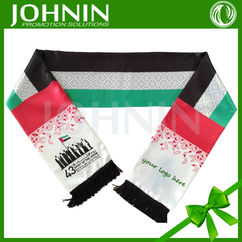 2016 wholesale national day use satin custom size UAE national flag scarf