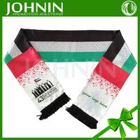 2017 wholesale national day use satin custom size UAE national flag scarf