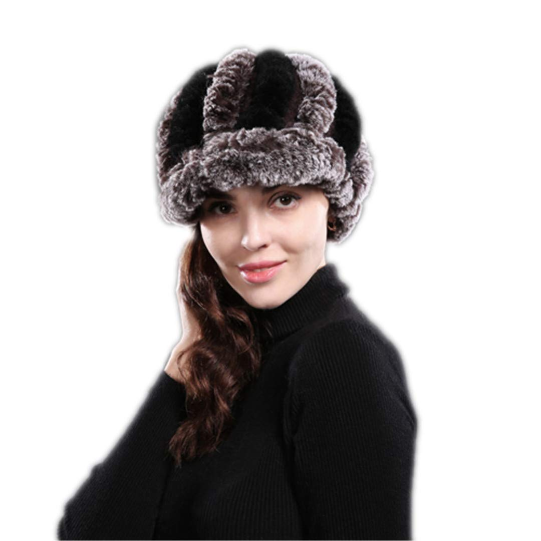 Real Fur Cap Lady Winter Natural Real Rex Rabbit Fur Hat Women Warm Beanies