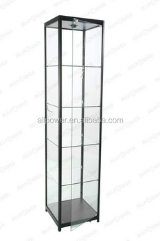 New Glass Showcase Kiosk, Top Quality Tempered Clear Glass Stand Tower  Display Cabinet