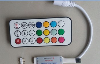 DC12V MINI 21key-IR led pixel controller;WS2811//WS2812B/TM1804/TM1809/INK1003/ICS1903,1024pixels controlled;63kinds of effects