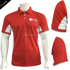 Custom Dry Fit Embroidered Company Logo Red Polo Shirt