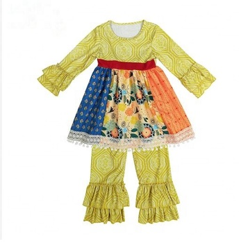 Light yellow color ruffle cuff kinds of fabric children clothing set lace hem