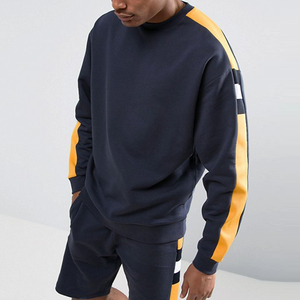 chinese clothing manufacturers block sleeve panels crewneck sweatshirt men