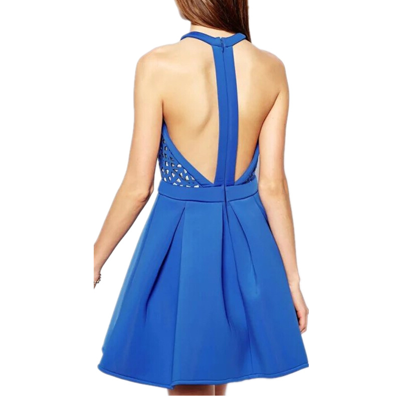 58ec6f0e6318 Get Quotations · New Summer Women Sexy Backless Floral Dress with Holes  Lady High Waist Sleeveless Hollow Out Hater