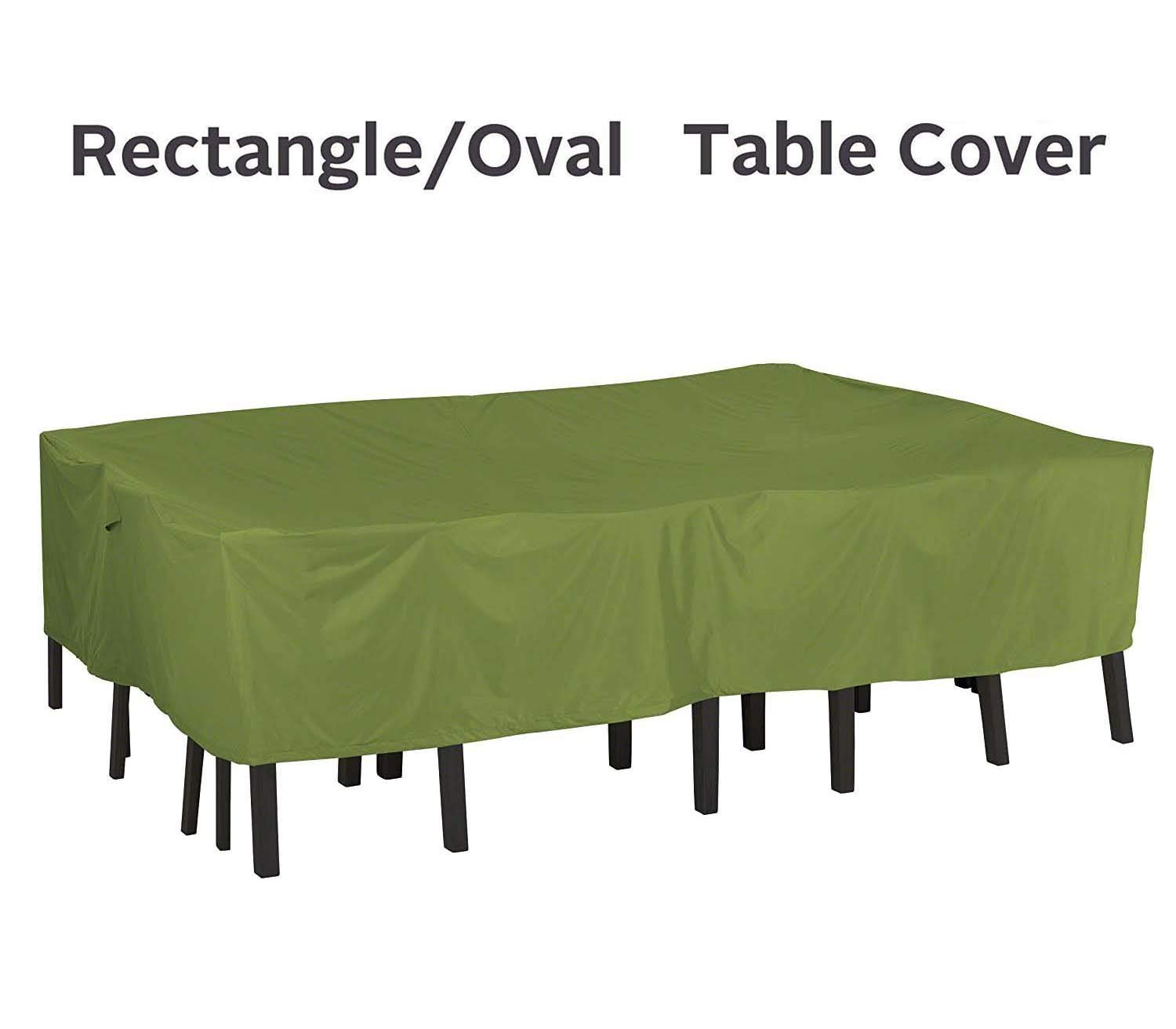 QueenA Rectangular/Oval Patio Table and Chair Set Cover,Outdoor Durable and Water Resistant Furniture Covers with Padded Handles & Durable Hem Cord (88×58×23inch)