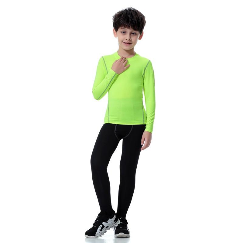 2018 Colorful Sportswear Boys' Compression Shirt Shorts Pants Sportswear Set Kids 17