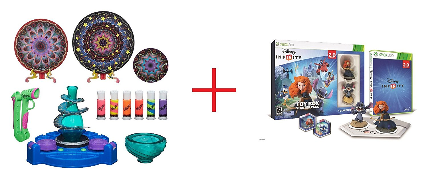 DohVinci Spotlight Spin Studio and Disney Infinity (2.0 Edition) Toy Box Starter Pack featuring Disney Originals for Xbox 360 - Bundle