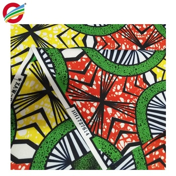 stock bright in colour african veritable wax cotton fabric for modern dress