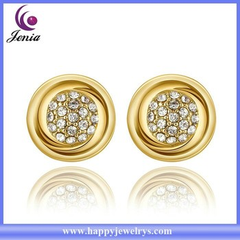 Round Earring Stud 18k White Gold Plated New Design Kids Rgpe979 A