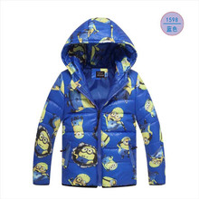 Hot!!!The Boy's Clothes 3 Color Cartoon Baby Hooded Jacket Girl With Thick Warm Winter Jacket Free Shipping