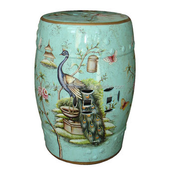 Beautiful Chinese Ceramic Indoor Light Blue Peacock Stool
