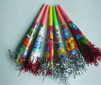 Holiday/party supplies paper horn/whistle with aluminum foil tassel toys gifts
