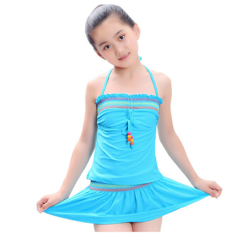 d979de59e38f7 Get Quotations · Free Shipping Cute Young Girls Swimsuit 2015 New Lovely Skirt  Bathing Suit 3 Pieces Sunscreen Sports