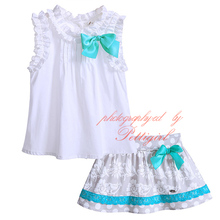 Girls Clothing Set Including Bow Top And Skirt Cute Baby Girl Wear Casual Kids Clothes G-DMCS907-769