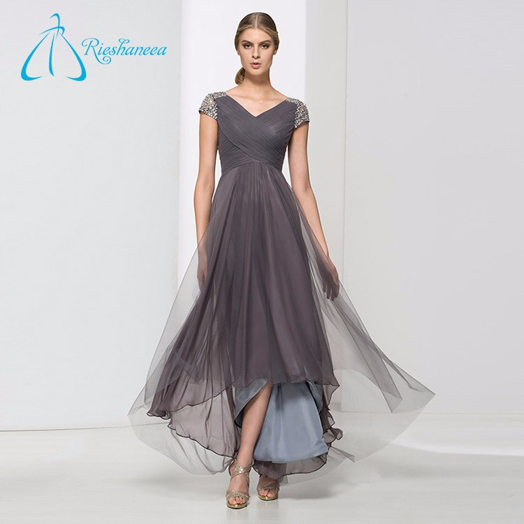 Tulle Satin Sequined Beading Pleat Elegant Evening Dress Women