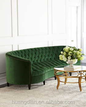 Custom Made Furniture China Export Green Velvet Fabric Handcrafted Tufted Chesterfield Sofa