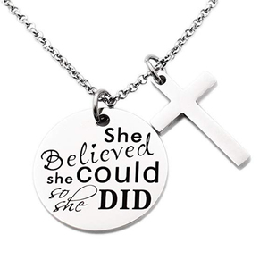 Cross Pendant Inspirational Jewelry Quotes Gift for Girl Teen Daughter men  Birthday