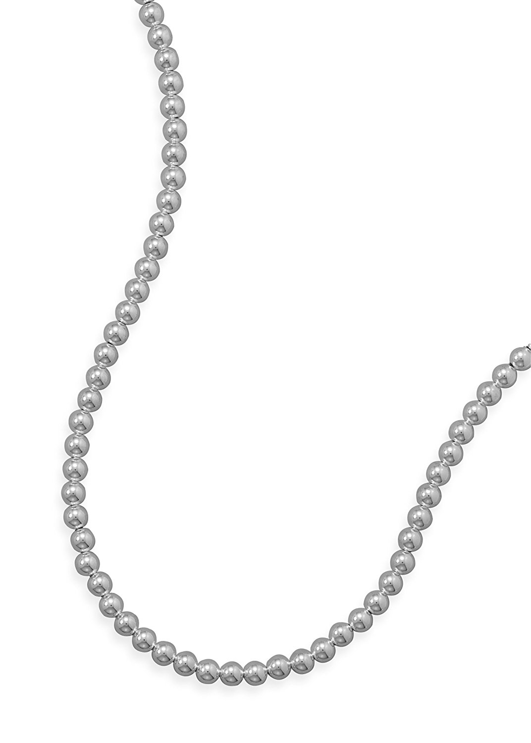 Sterling Silver Necklace, Lobster Clasp, 7mm Bead/Ball