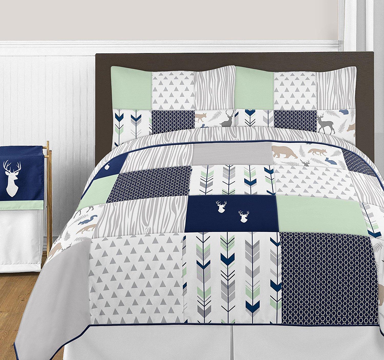 Get Quotations · Navy Blue, Mint And Grey Woodsy Deer Girls 3 Piece Full / Queen  Bedding Set