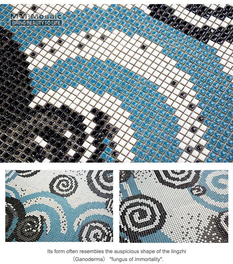 Custom ceramic mosaic mural art picture dolphin mosaic for Custom mosaic tile mural