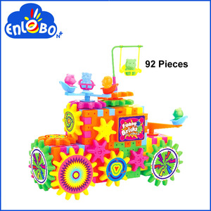 Hot sale DIY item educational ABS plastic Battery Operation 92 pcs Gear Blocks Toys accept OEM order