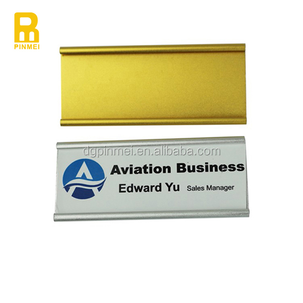 Aluminum custom metal company badge pin name badge for staff with logo