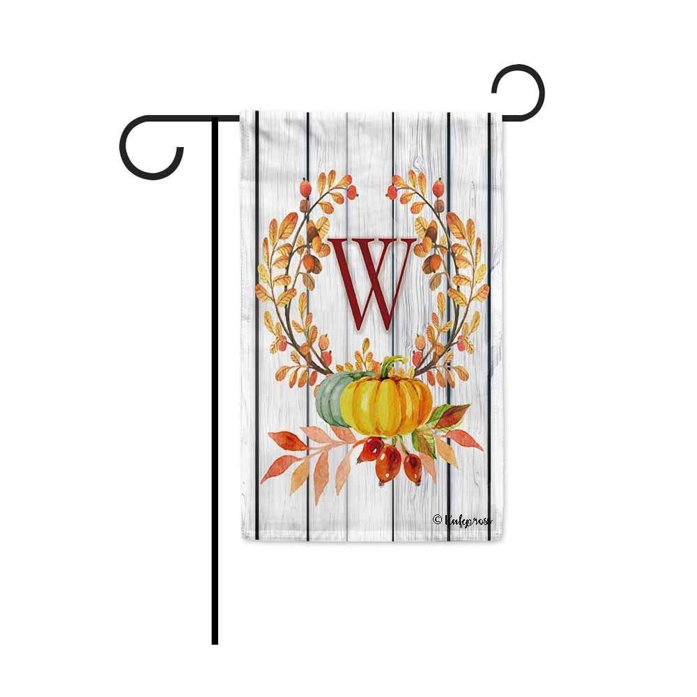 """Kafepross Tree Leaves Wreath Fall Monogram W Decorative Garden Flag Harvest Pumpkin Autumn Initial Letter Decor Banner for Outside 12.5""""X18"""" Print Both Size"""
