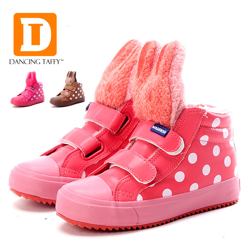 2015 New Autumn Winter Children Boots Plush Warm Cotton Kids Shoes Rabbit Snow Girls Boots PU Leather Children Shoes Size 25-35