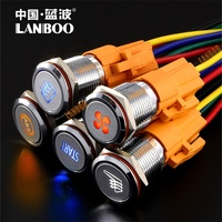 symbol can be customized 16 , 19mm , 22mm1NO1NC 2NO2NC dot illuminated power symbol push button switch for car , yacht