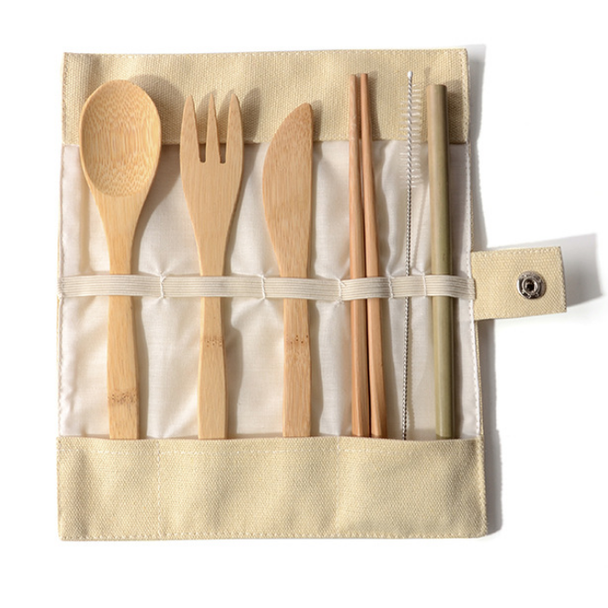Portable Outdoor Bamboo Travel Utensil Cutlery Set Folding Knife Fork Spoon Cutlery Sets