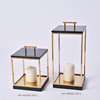 East & West Cube Gold metal candlestick for table decoration