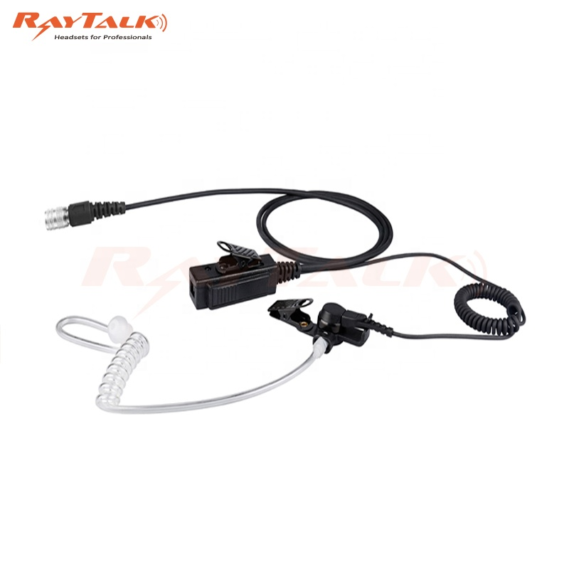 NOISE ATTENUATING RADIO EARPIECE DUAL BLACK COILED ACOUSTIC TUBES WITH EARTIPS