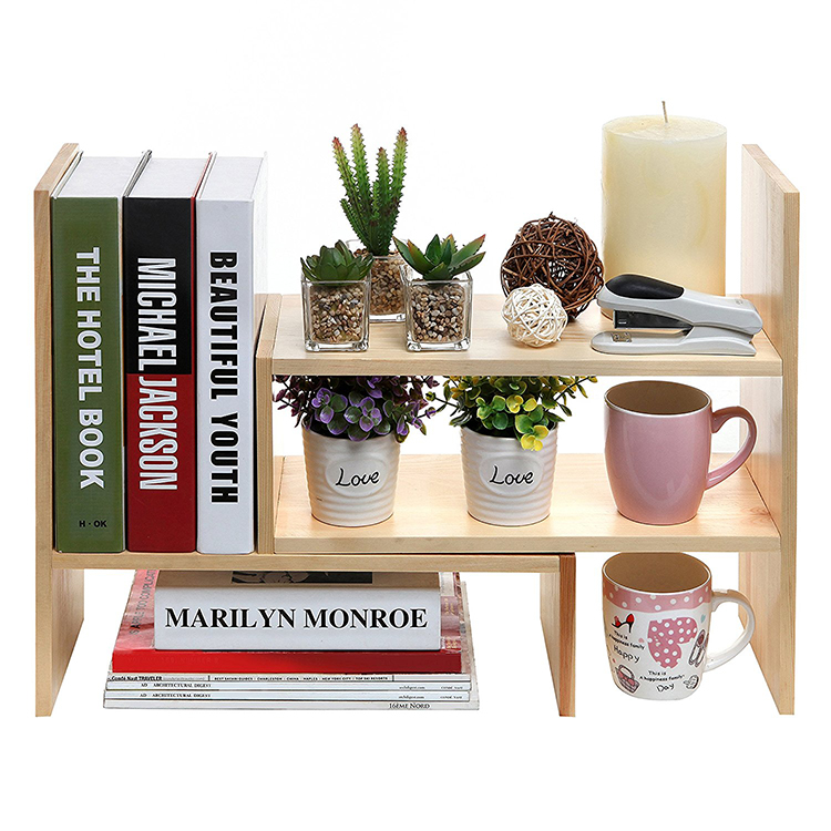 natural wood display shelf rack storage desk organizer