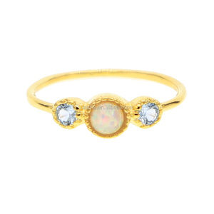 fashion yellow gold plated round shape rings with opal paved center stone & cz for women wedding thin band gold ring for gift