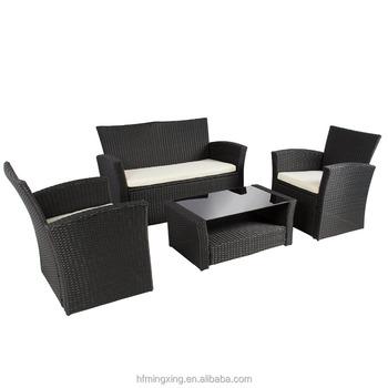 4 Unid Patio Al Aire Libre Muebles De Jardín Sofá De Mimbre Set ...