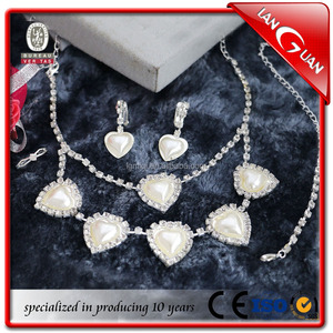 heart pearl earing necklace ring and han chain fashion jewelry set