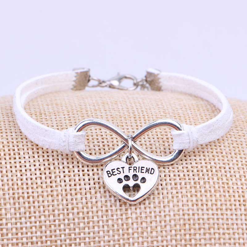 Fashion infinity rope bracelet Hand-woven silver heart best friend velvet bracelet fashion wrap leather jewelry, As picture