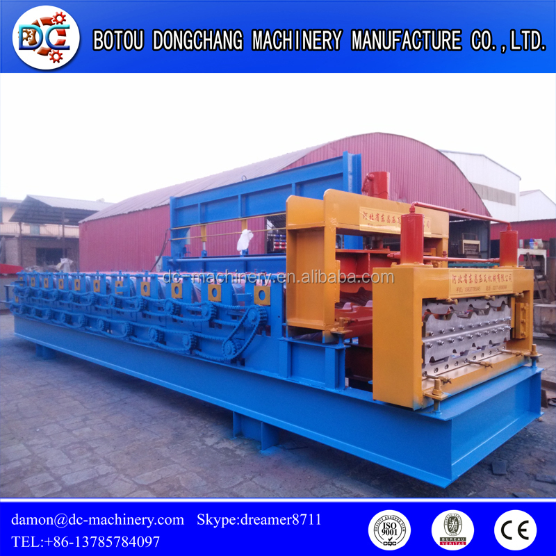 Top sale colorful coated steel roof tiles cold roll forming machine