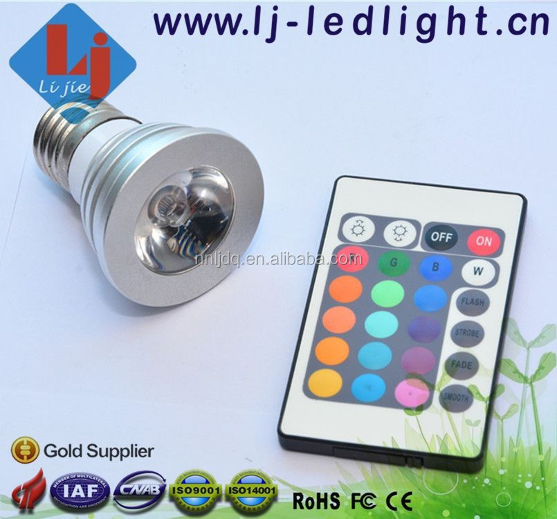 High Quality 16 Color LED Spotlight 3W with E27/ GU10/ MR16 Socket with Lens