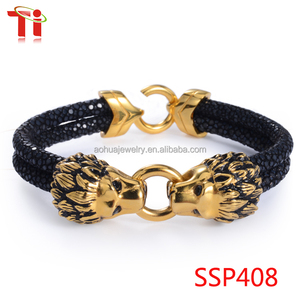 Fashionable bracelet stingray bracelet skin leather with 316l stainless steel charm gold plated dragon bangle
